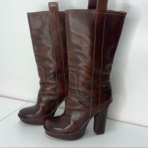 Frye Platform Heel Rich Leather Boots